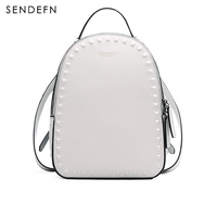 SENDEFN 2017 NEW Backpack Genuine Leather Women Backpack Fashion School Backpack Luxury Women Shoulder Bag Youth