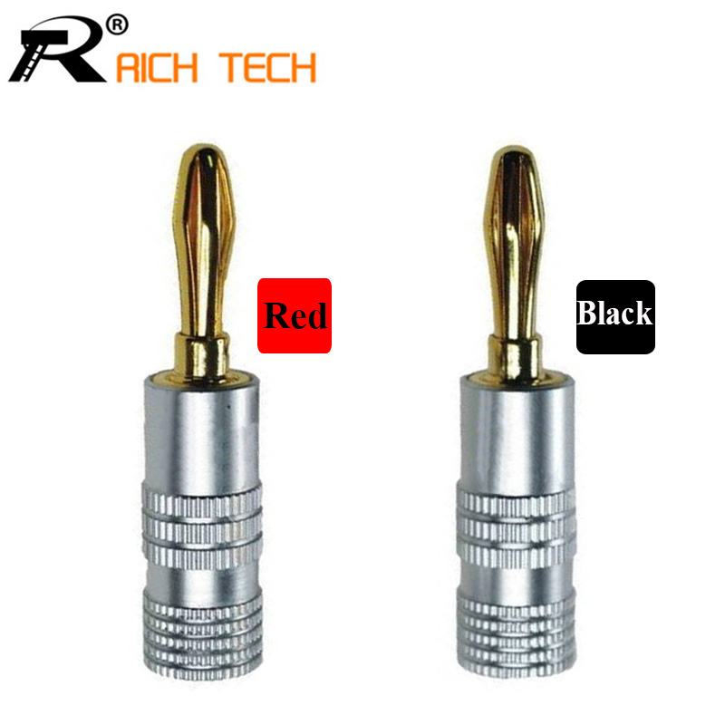 High Quality New 24K Gold Nakamichi Speaker Banana Plugs For Video Speaker Connector Black Red Color