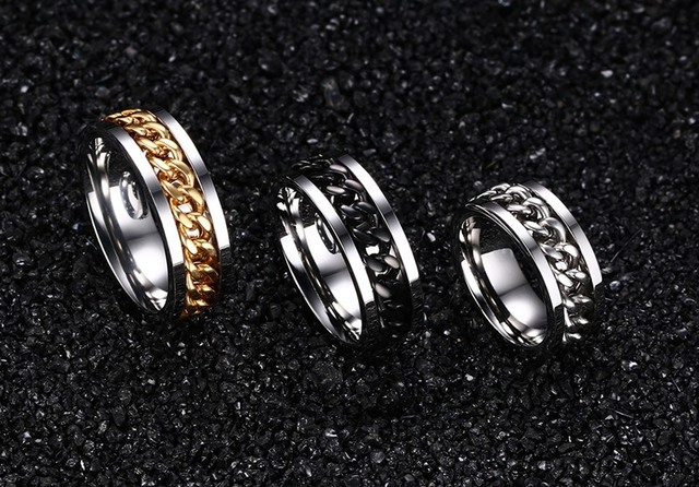 Fashion Men's Ring The Punk Rock Stainless Steel Black Chain Spinner Rings 3 Color