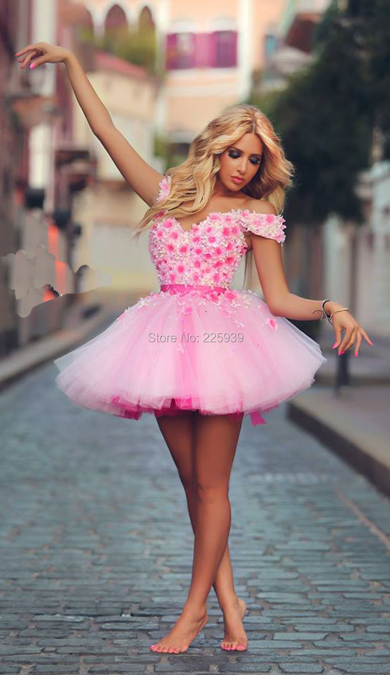 New Fashion Sweetheart Silver Beaded Hand Made Flowers Mini Short Prevalent  Tulle Short Pink Wedding Dresses Vestido De Noiva