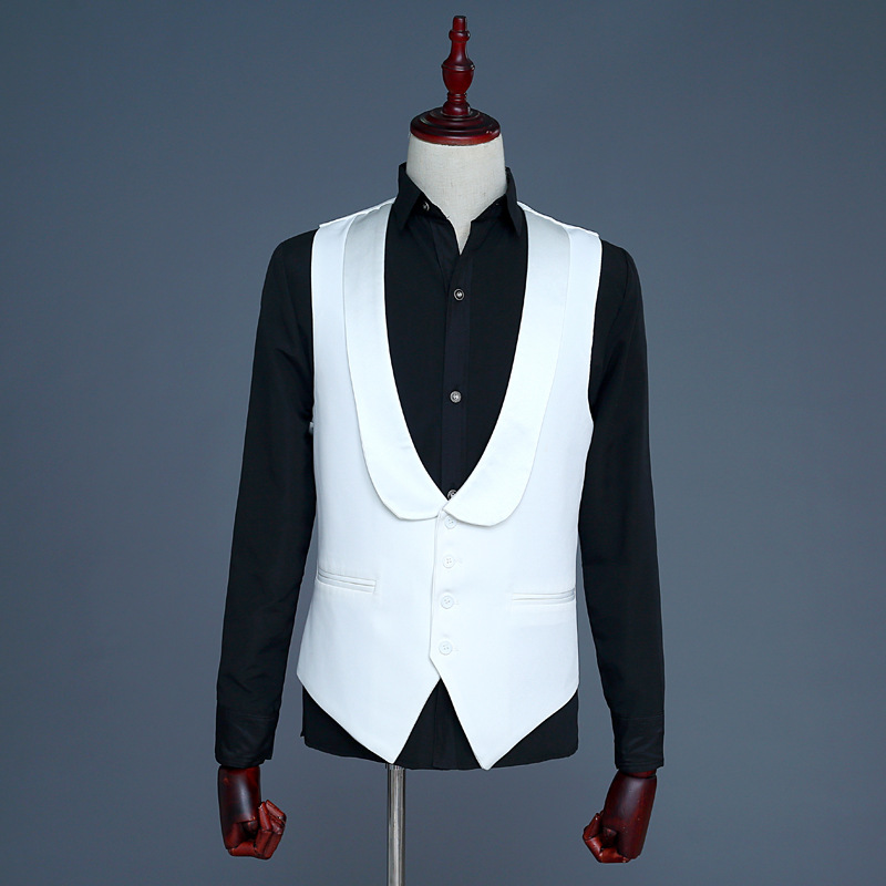 Fashion 2019 Simple New Mens Clothing Men's Vest Casual Bright Tablets Black White Stage Performance Men Waistcoat Vests M