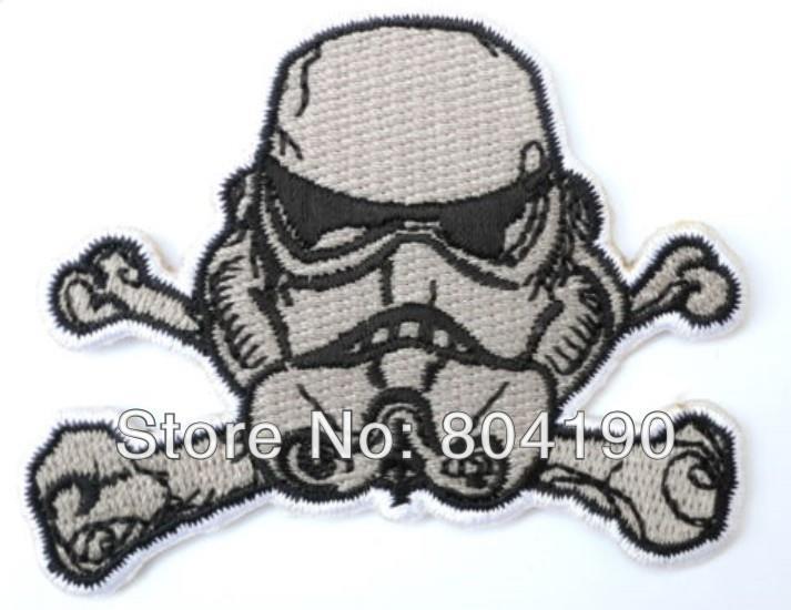 RETRO STAR WARS Storm Trooper Helmet Cross X Bones MOVIE Emo Goth Punk Rock Embroidered IRON