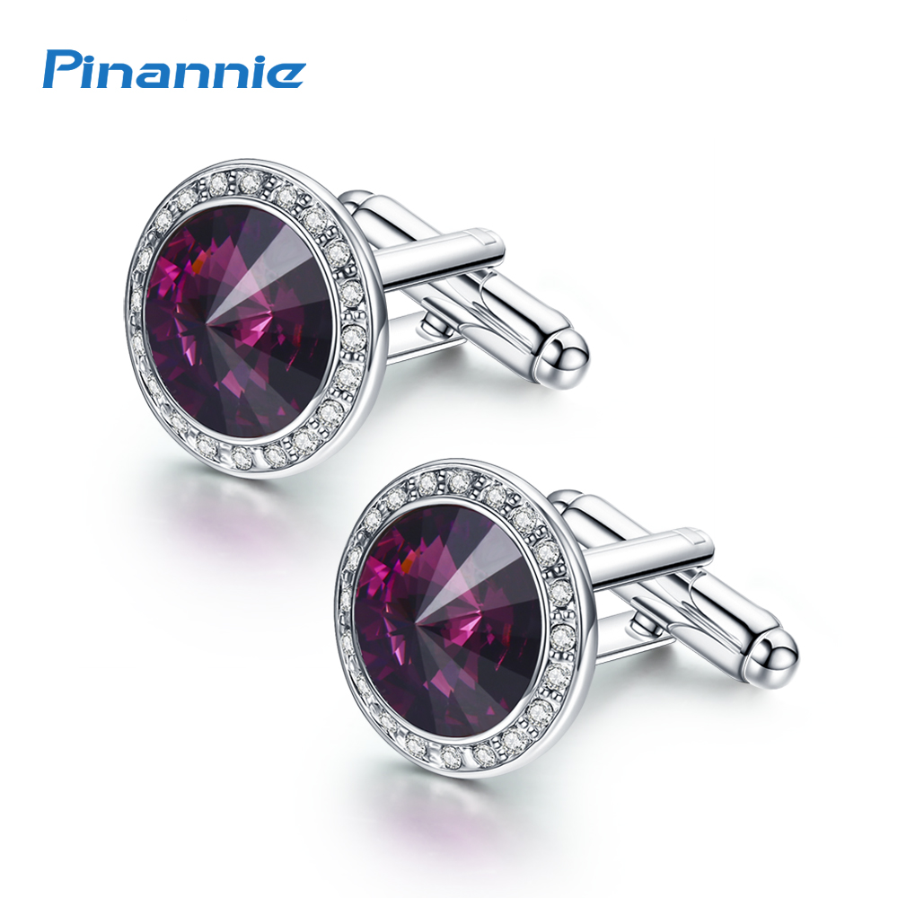 Genuine Silver Color Plated Fathers Day Gifts Austria Crystal Shirt Cuff links for Mens