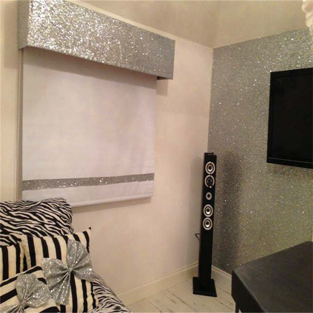 8 meter Bedroom white glitter paper Damask Glitter Wallpaper Roll Flocking  PU paper wall covering textured 16256daac99a