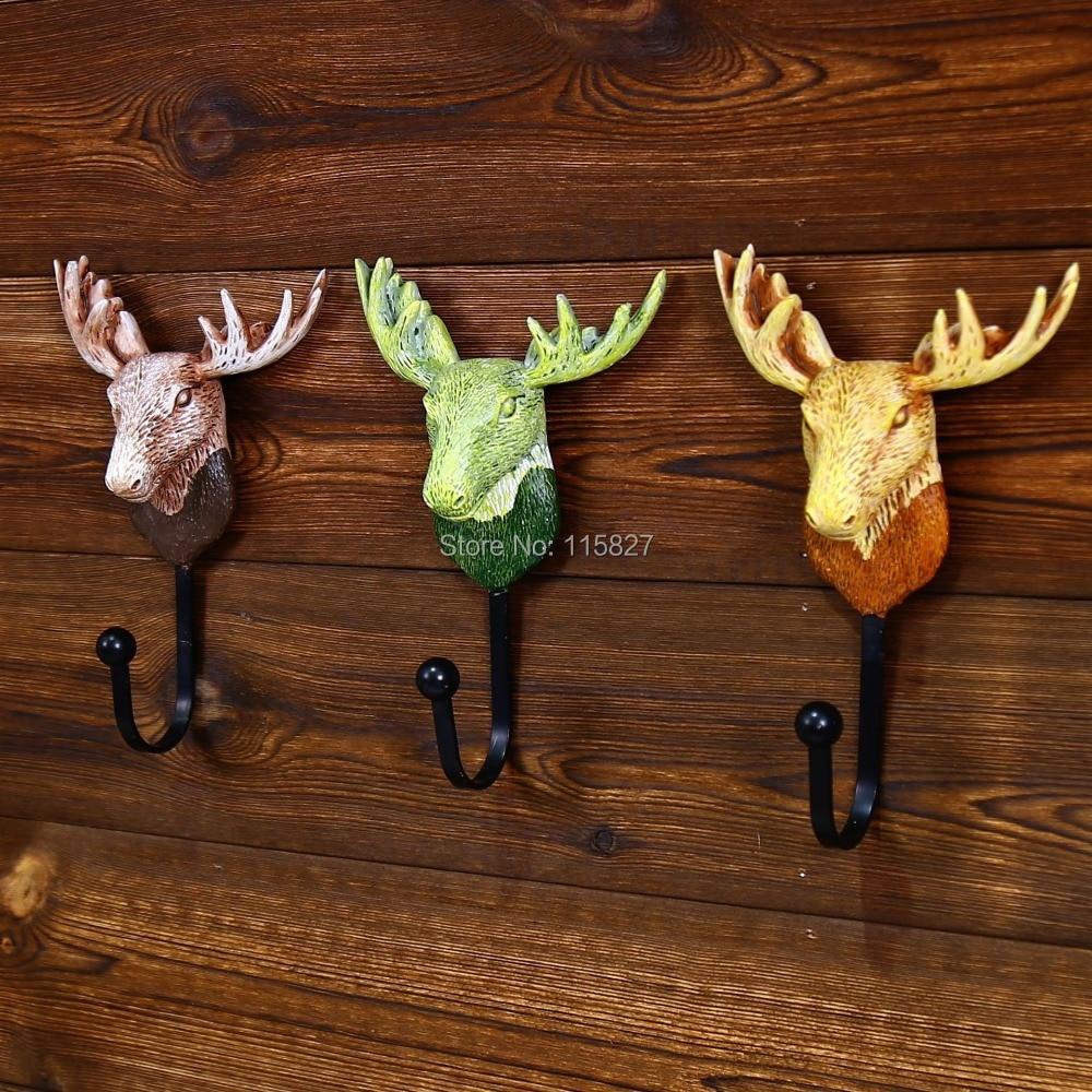 Heavy duty ornament hooks - Free Shipping 3pc Lot Heavy Duty Deer Head Design Resin Wall Hook Metal Coat Hat