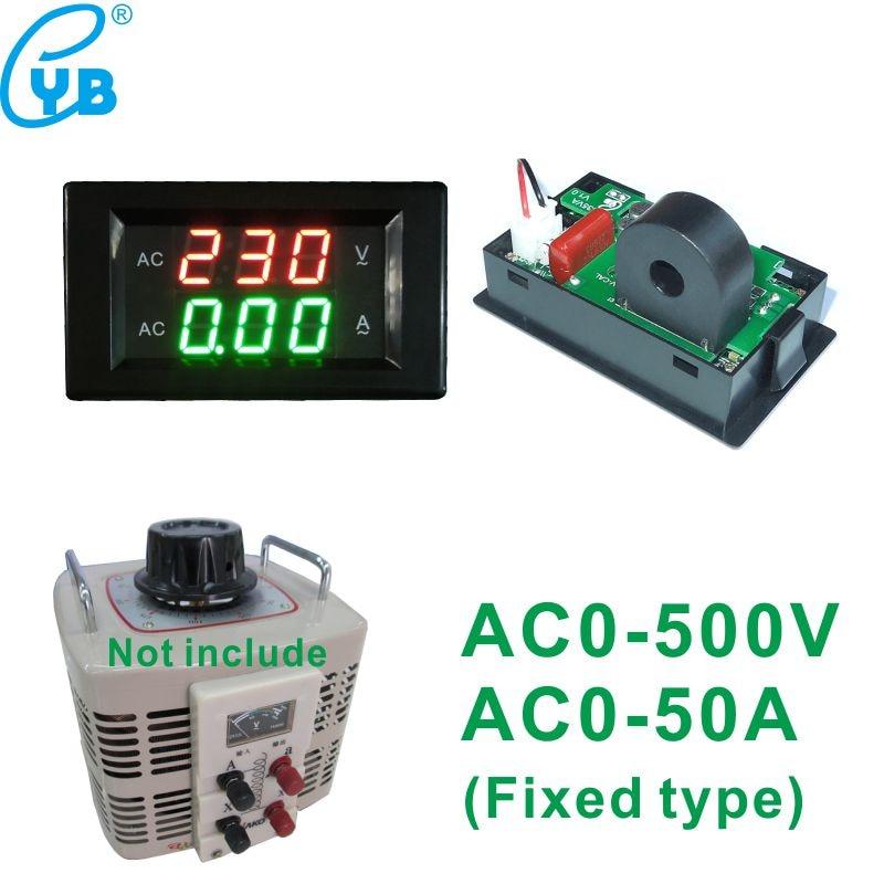 Medidor de corrente da tensão do amperímetro do voltímetro de digitas do diodo emissor de luz da c.a. 0-500v 50a para o monitor fixo do calibre do amperador do voltímetro do ct de variac da fase monofásica