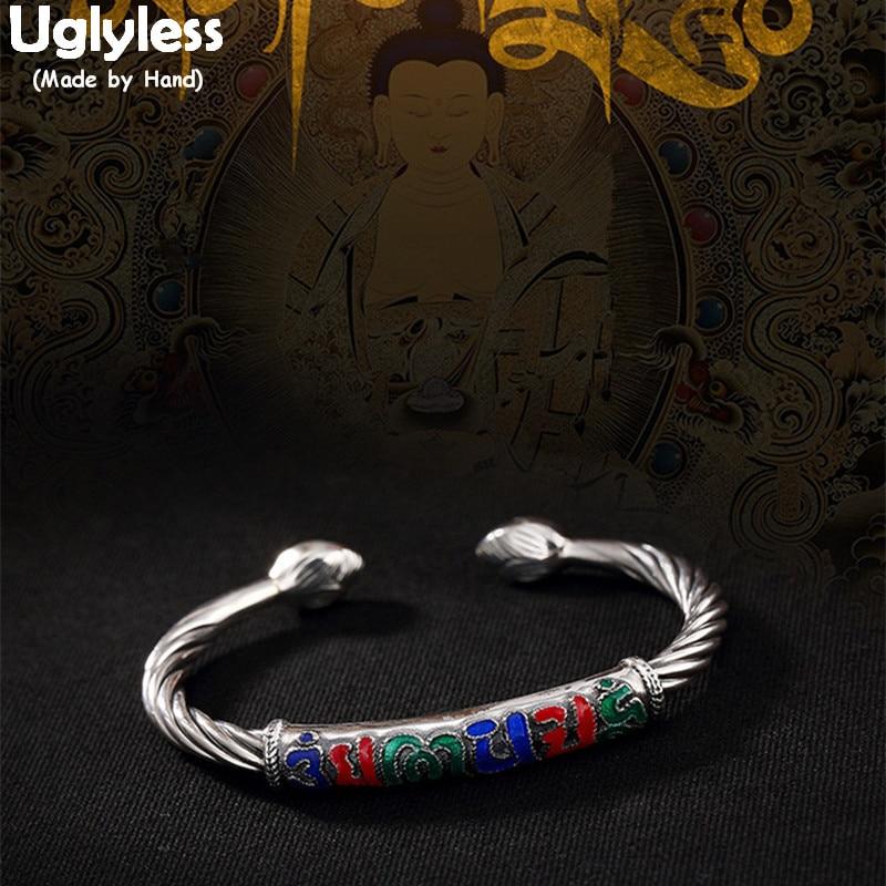 Uglyless S 990 Fine Silver Jewelry Vintage Cloisonne Enamel Sanskrit Bangles Women Buddhism Mantra Bangle Lotus Twisted Bijoux tibet buddhism cloisonne enamel bronze tara guan yin buddha statue