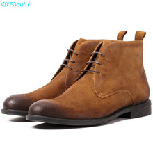 Suede Ankle Boots With Lace-up High Quality Genuine Leather Men Business Office Shoes Retro Chelsea Boots