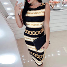 2019 summer new fashion chain print ladies dress sexy slim round neck sleeveless knee-length dress