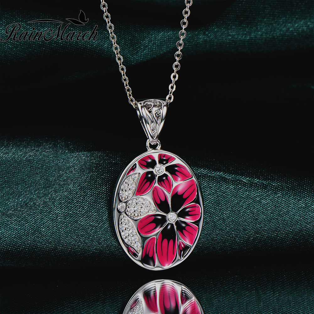 RainMarch Enamel Flower Pendant Silver For Chain Necklace 925 Sterling Silver Necklace Pendant CZ Stone Party enamel Jewelry christmas bell enamel pendant necklace