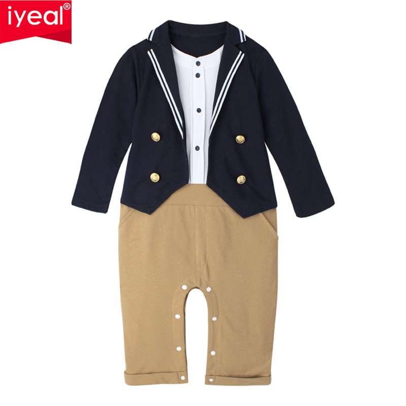 IYEAL Gentleman Baby Boy Clothes Fashion Newborn Wedding Clothes Baby Rompers Long Sleeve Overalls Toddler Infant Body Jumpsuit gentleman baby boy clothes white newborn wedding clothes baby rompers long sleeve overalls next baby body jumpsuit