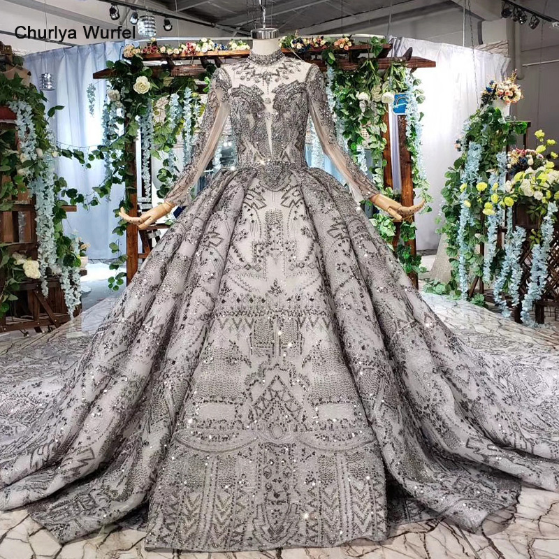 HTL540 Luxury Dubai Evening Dresses For Special Occasions High Neck Long Sleeve Grey Handmade Lace Long Gown 2019 Robe De Soiree