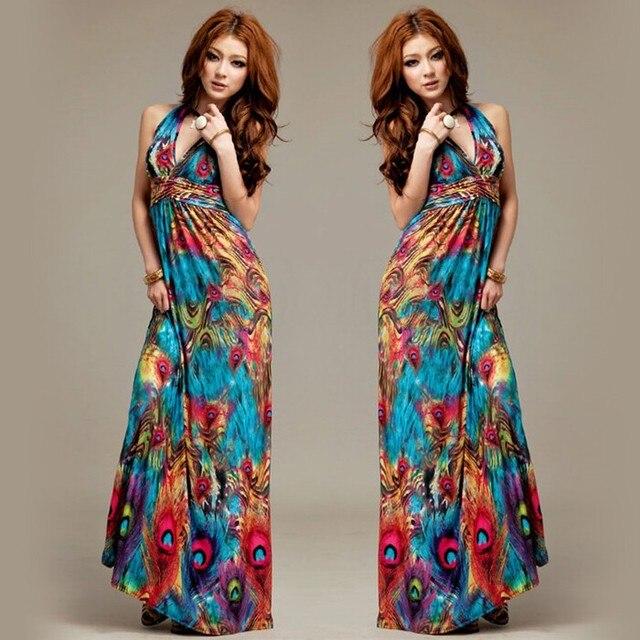 Sexy V-neck Summer Dress Bohemia Print Halter-neck Beach Dresses Full Long Maxi Dress For Women