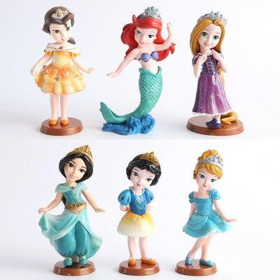 6Pcs/Set Disney Toys for Kids Classic Dolls Anime Princess