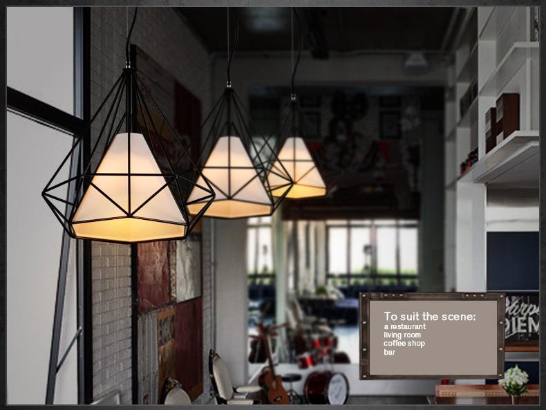 ФОТО Modern Scandinavian Minimalist Bird Cage Lamp Art Diamond Pyramid Pendant Light Vintage Iron Pendant Rustic Light