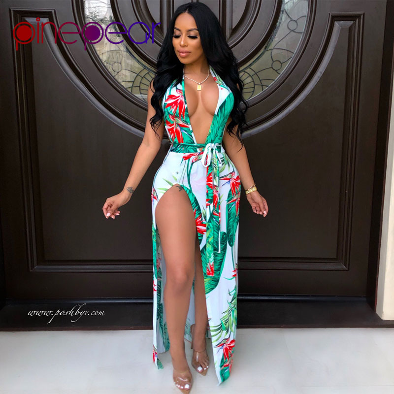 PinePear Floral Leaf Print Backless Beach Dress Cover Up Swimwear 2020 Women Deep V Neck Bathing Suit Beachwear Drop Shipping