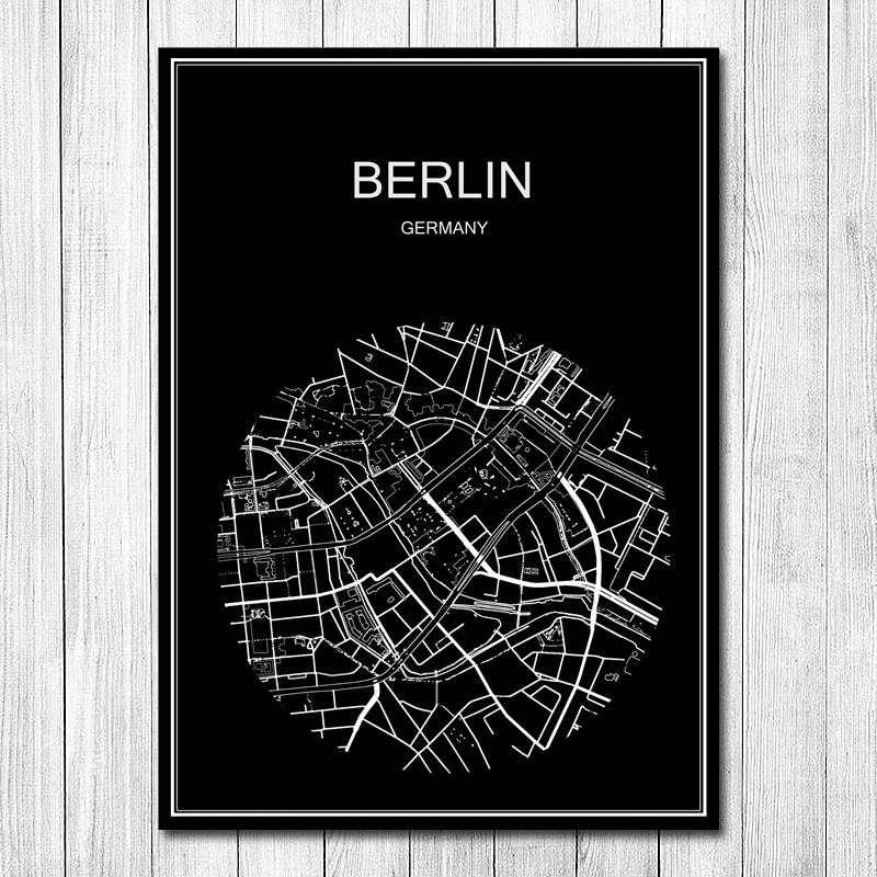 Runde World City Karte Berlin Vintage Retro Poster Krafts Papier Wand Kunst Aufkleber Cafe Bar Design Wohnzimmer Wohnkultur Gebe