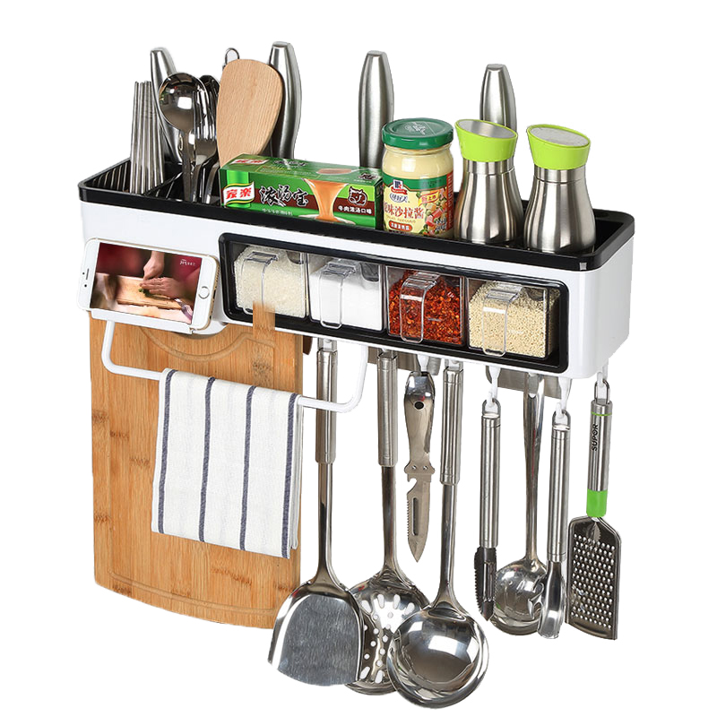 Wall hanging kitchen cutlery seasoning knife storage rack with hook ABS plastic bathroom shelves for home decor high quality multifunctional kitchen shelf wall mounted knife storage rack kitchenware seasoning shelves kitchen accessories