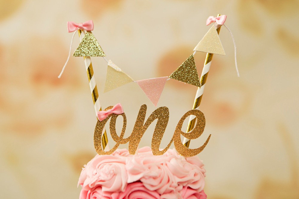 One Cake Topper, First birthday cake topper, ONE Smash Cake Set (Cake Topper and banner) Blush and gold cake topper, smash cake