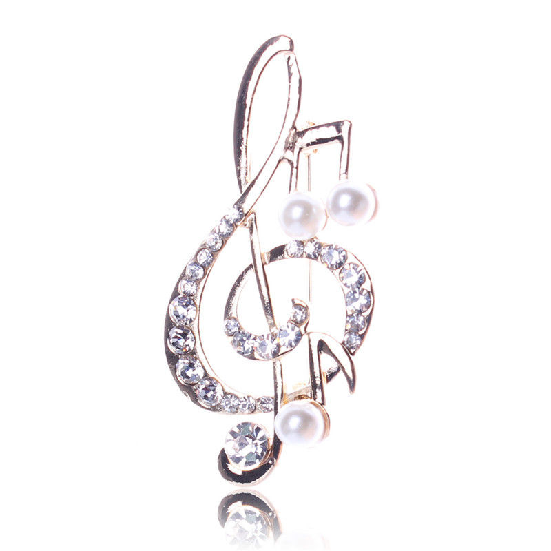 Женские горный хрусталь нот брошь для шарфа розовое золото скрипичный ключ булавки ювелирные изделия