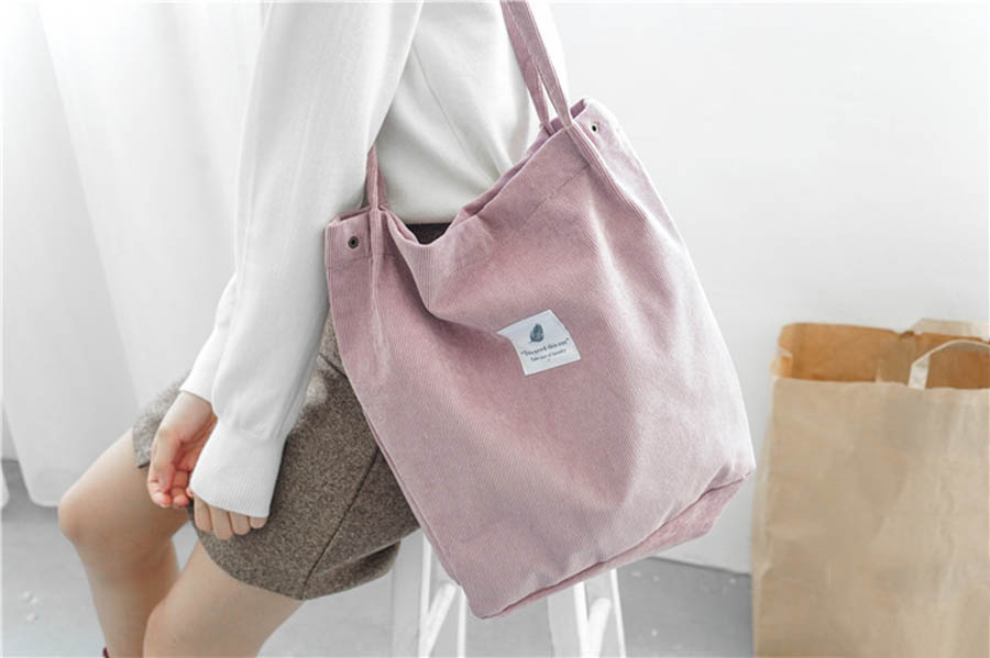 Mara's Dream High Capacity Women Corduroy Tote Ladies Casual Solid Color Shoulder Bag Foldable Reusable Women Shopping Beach Bag 27