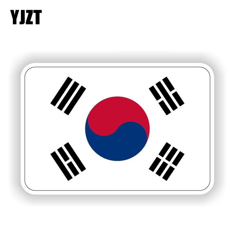 YJZT 11.6CM*7.6CM South Korea Flag Car Sticker Car Window PVC Body Decal 6-1753