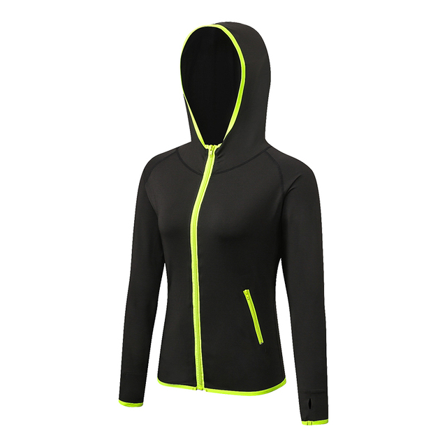YD Women's Sport T-shirts Long Sleeve Running T-shirts With Hat And ZipperWomen Outdoor Leisure Sportswear Gym Yoga Clothing