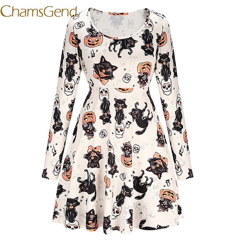 Chamsgend Women Cute Cat Cartoon Printed Long Sleeve O Neck Fit Loose Pleated Party Dress 7912