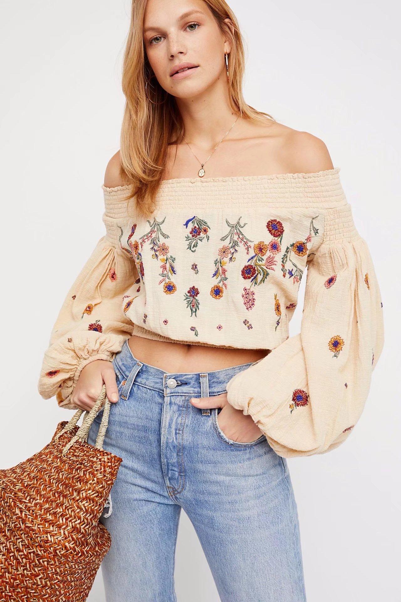 2018 été nouvelle mode Slash cou lanterne manches chemises Floral broderie Boho Blouses femmes vêtements couverture en coton Chic chemise