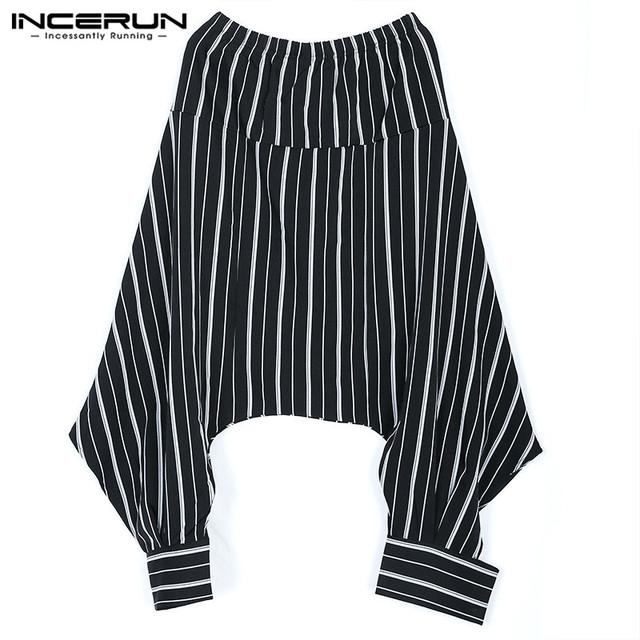 INCERUN 2018 Fashion Mens Stripe Print Pants Hip Hop Casual Harem Trousers Low Drop Crotch Elastic Waist Baggy Pants