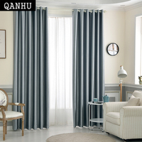 Qanhu New Solid Color Curtains Hight Blackout Polyester Nature Home Curtain For Bedroom & Living Room Rideaux Pour Le Salon