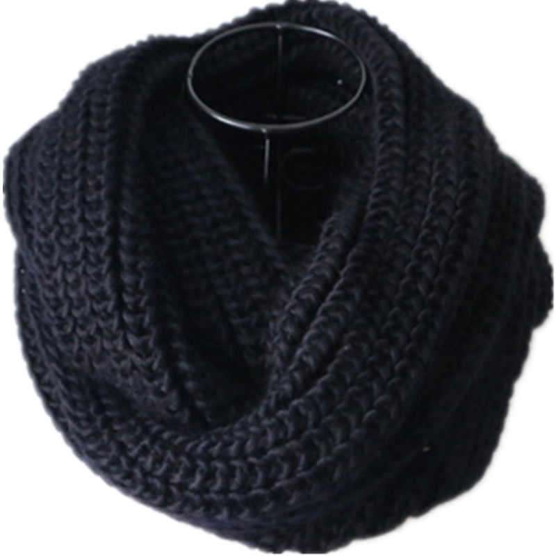 Black Loop Men's Scarf Collar Women Winter Knit O-Ring Scarf Female LIC Male Neck Scarves Men Ladies Winter Red Infinity Scarfs