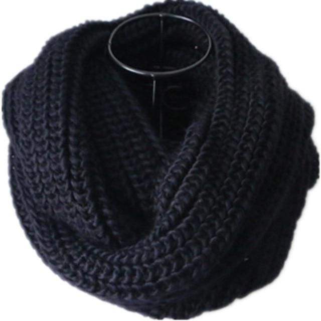 Черный петля мужской шарф воротник женский Зимний вязаный o-образный шарф женский LIC Мужской шеи шарфы Мужские Женские зимние красные бесконечные шарфы