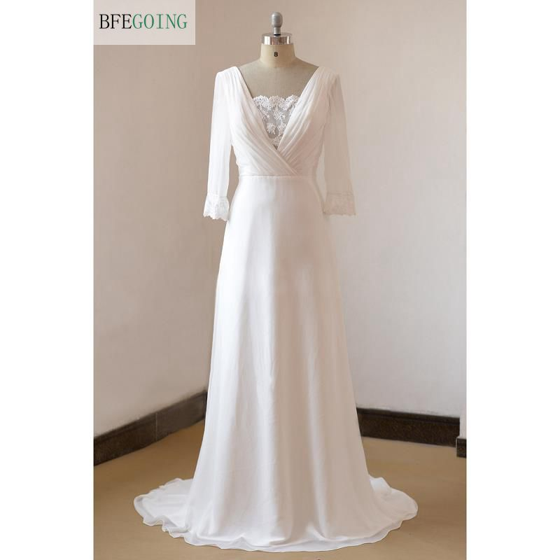 White Chiffon Lace Appliques V-Neck  A-line Wedding Dress Sweep Train  Long Sleeves Real/Original Photos  Custom Made