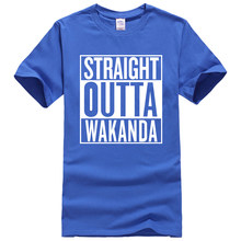 Lasting Charm Short Sleeve Sports T-Shirt Men STRAIGHT OUTTA WAKANDA Letter Black Panther Harajuku Male Tshirt(China)