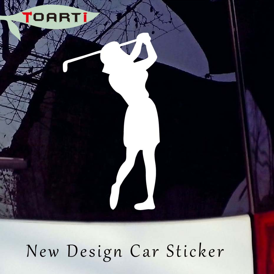 7*14CM Woman Golfer Sticker Car Window Vinyl Decal Golf Girl Sports Laptop Removable Waterproof Auto Decals decals Car Styling
