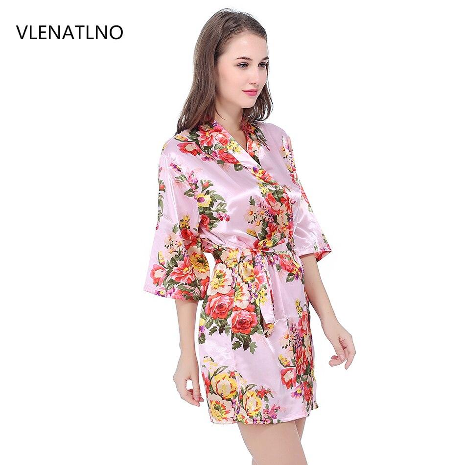 Seda dama traje de novia Sexy mujeres corto satén Kimono Robes ropa de dormir camisón vestido de mujer Albornoz Floral