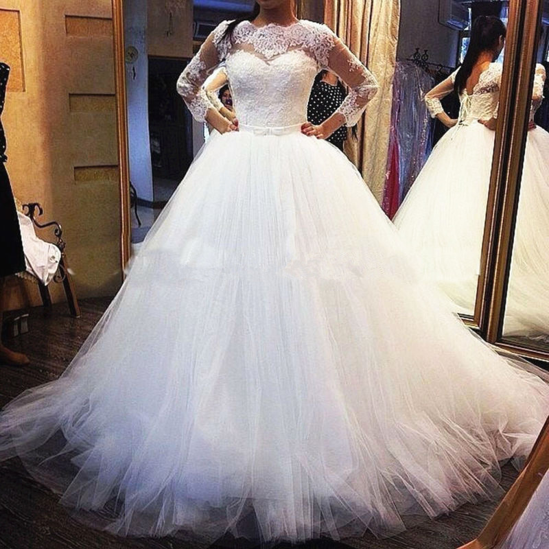 2019 Vestido De Novia High Neck Tulle A-Line Bridal Gowns Long Sleeve With Lace Up Vestidos Mother Of The Bride Dresses