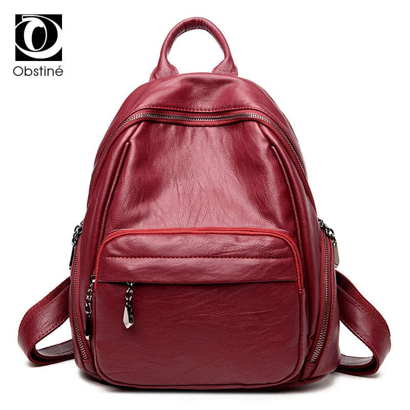 High Quality PU Leather Woman Backpack Fashion Solid School Bags for Teenager  Girls Casual Backpacks Women d1a734037848e