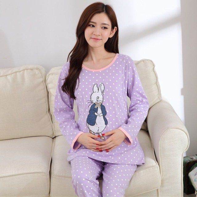 New cotton Maternity Pajamas for Pregnant Women Sleepwear Breastfeeding Long-sleeve Maternity Breast Feeding Clothing Plus XXXL