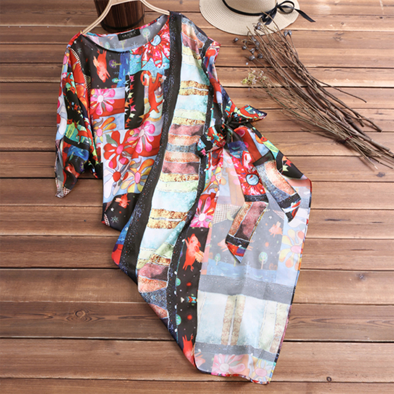 2019 Summer Women Ethnic Floral Printed Irregular Blouse Short Batwing Sleeve Loose Party Bohemian Shirt Casual Long Top Blusas jeans con blazer mujer