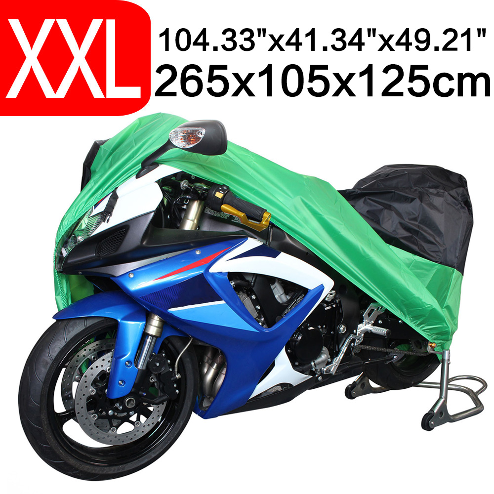 2XL 265 x 105 x 125cm Motorcycle Covering Waterproof Scooter Cover UV Resistant Heavy Racing Bike Outdoor Cover Green D25