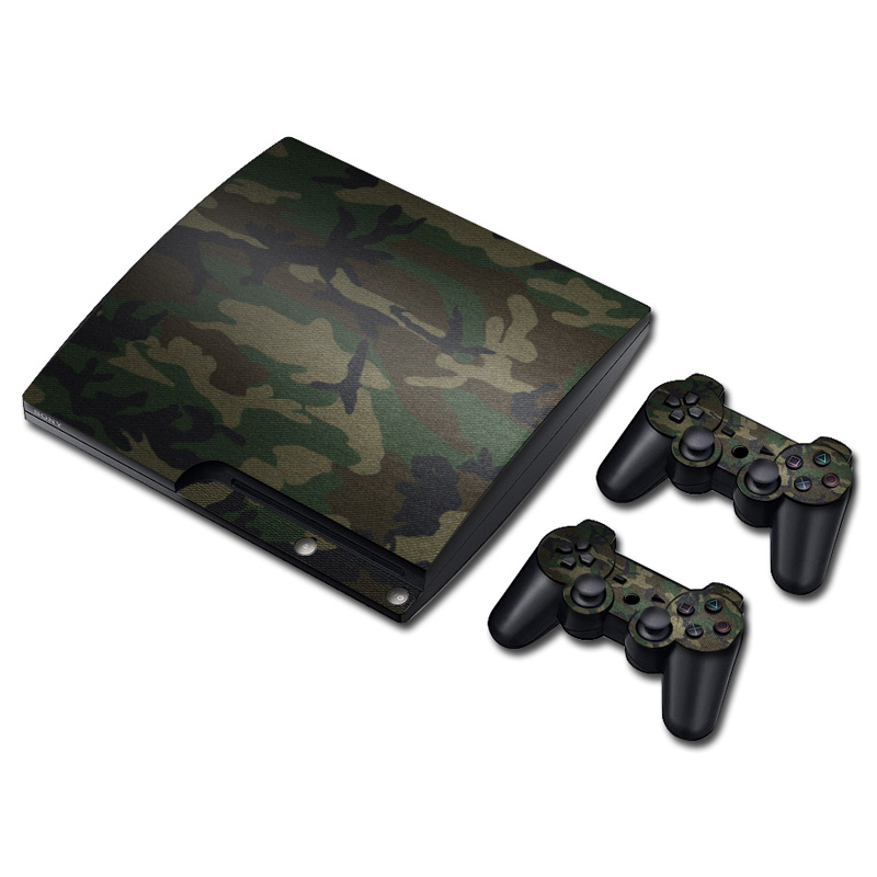 Camo Decal Sticker For PS3 Slim Console & 2 Pads For Sony Playstation PS 3 Skins Controller