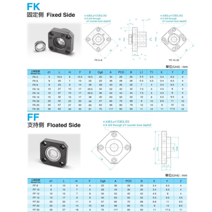 Image 4 - 1 pcs FK10 Fixed Side +1 pcs FF10 Floated Side for SFU1204 Ballscrew CNC parts ball screw 1204 fk/ff10 end support