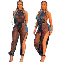 Sexy Sheer Black Lace Jumpsuit Bikini Cover up Women Sequin See Through Hollow Out SwimwearRompers Long Pants Party Overalls