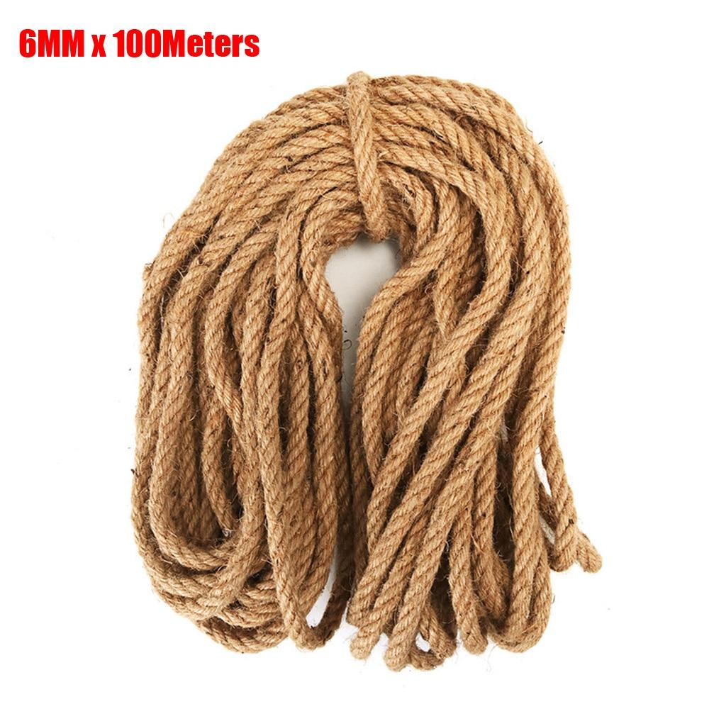6 MM 100 mètres de ficelle de Jute naturelle Arts et artisanat corde de Jute chaîne d'emballage robuste pour cadeaux, bricolage artisanat, décoration, groupage