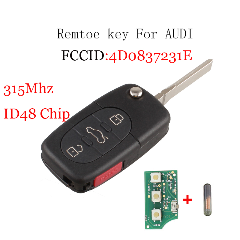 New 3+1 Button 315MHZ Remote Key Keyless Entry Fob 4D0837231E For Audi A4 A6 A8 TT With ID48 Glass Chip Uncut Blade