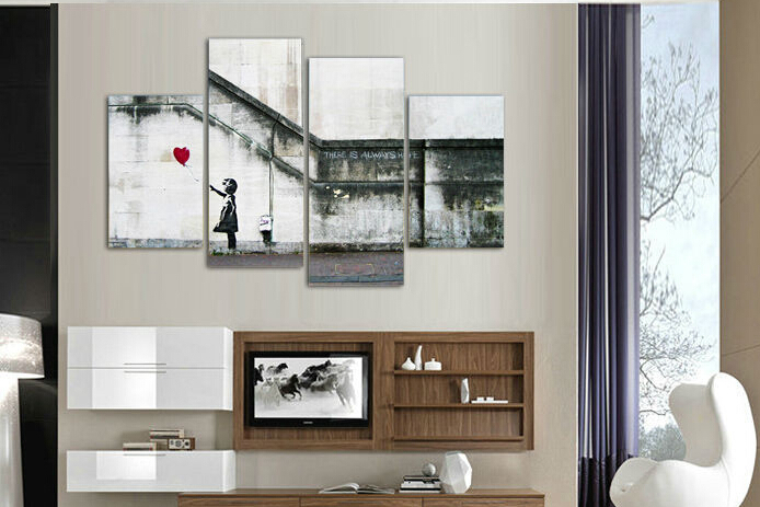 free shipping canvas art 4 pieces large banksy there is always hope modern wall painting home