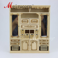 Unpainted1:12 scale miniature Hand Carved Main cabinet for dollhouse