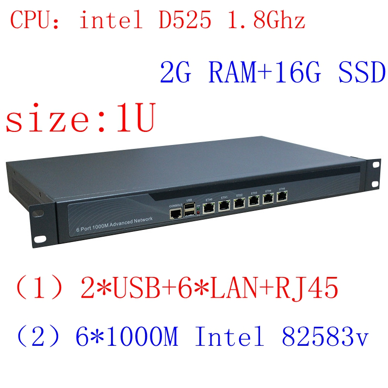 Intel D525 1U Rack Ears Network Server With 1000m Gigabyte LAN Support ROS PFSense Panabit Wayos 2G RAM 16G SSD